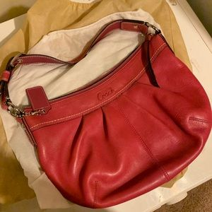 Pink leather Coach Hobo, like new!